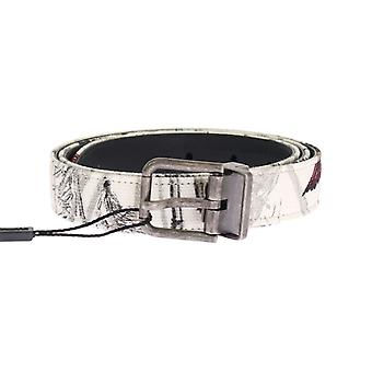 Dolce & Gabbana White Denim Bird Print Leather Belt