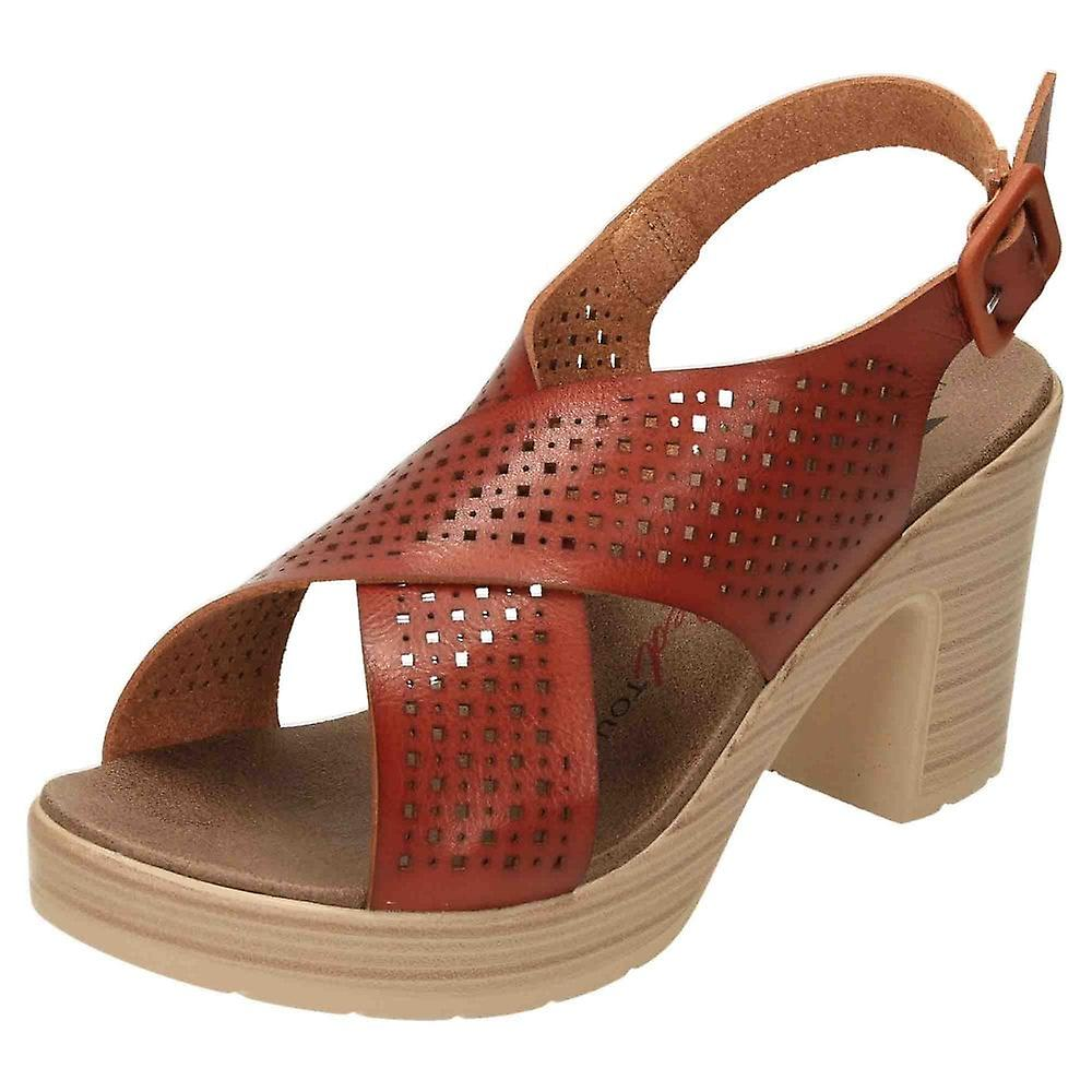 XTI Slingback Platform Crossover Block Heel Sandals 49860 Brown oYDmw