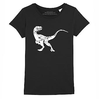 STUFF4 Girl's Round Neck T-Shirt/Dinosaur/Velociraptor/Black
