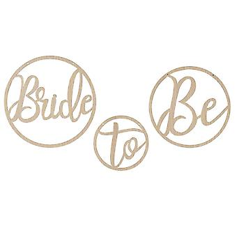 Wooden Bride To Be Decoration Hoops Set of 3 Hoops Botanical Hen