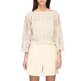 Rode Valentino Tr3ab00x4t8a03 Women's White Cotton Blouse