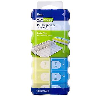Ezy dose pill organizer, weekly am/pm, 1 ea (colours vary)