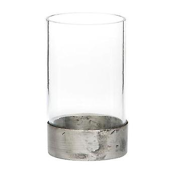 Glas Laterne Ruffig Metall 20 cm