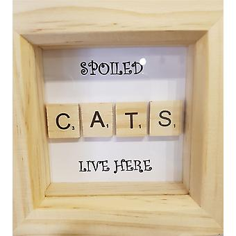 Handmade Spoiled Cats in Pine Frame by Wee Bee Gifts