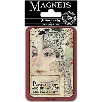 Stamperia Kasvot 8x5.5cm Magneetti