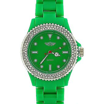 Prince London Ladies Stone Set Bezel Green Plastic Strap Casual Watch PI-2011
