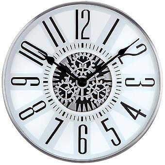 Atlanta 4440 wall clock quartz analog silver grey with skeleton visible gears