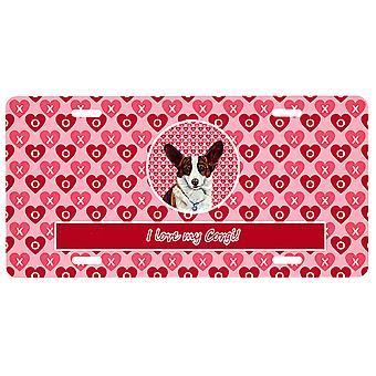 Carolines Treasures LH9153LP Corgi Valentine's Kärlek och hjärtan Registreringsskylt