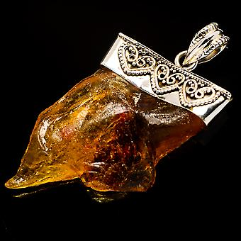 Copal Pendant 2 1/4-quot; (925 Sterling Silver) - Handmade Boho Vintage Jewelry PD725695