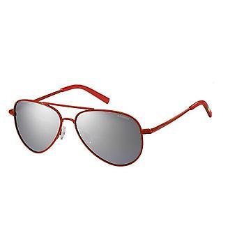 Polaroid Junior PLD8015/N 39Y/JB Red/Polarised Grey-Silver Mirror Sunglasses