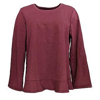 LOGO by Lori Goldstein Women's Sweater Classic French Terry Purple A345527