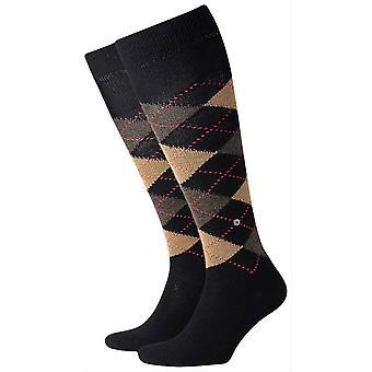 Burlington Preston sokker knehøye - svart/brun