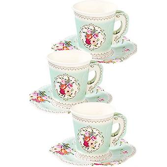 Alice in Wonderland Style Vintage Floral Cups with Handles and Saucers x 12