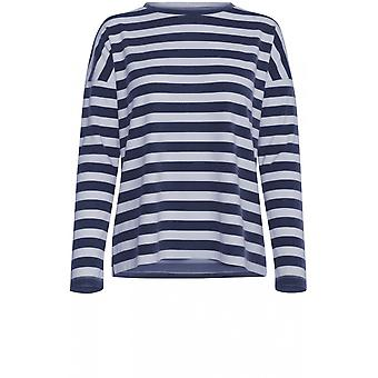 b.young Navy & White Striped Top
