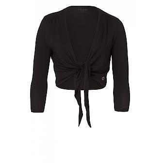 Olsen Draped Short Black Cardigan