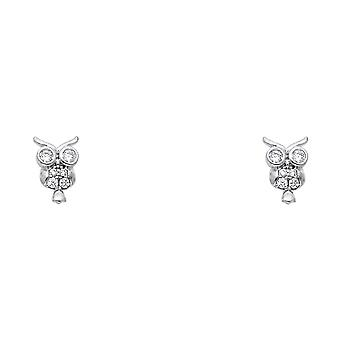 14k Oro Bianco Gufo Di C'è Cubic irconia Simulato Diamante Avite Orecchini Regali Gioielli per le Donne