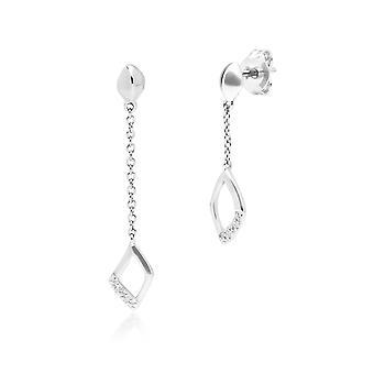 Aretes colgantes colgantes con pavé de diamantes no coincidentes en oro blanco de 9 qt 162E0274019