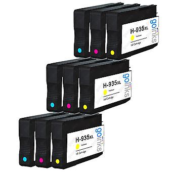 3 kompatible Sets von 3 C/M/Y HP 935 (HP935XL) Druckertintenpatronen (Farbset)