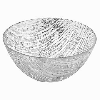 """8"""" Hand Crafted Glass Silver Accent Salad or Serving Bowl"""