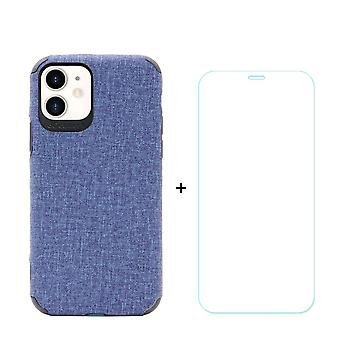 Voor iPhone 11 Case Denim Texture Blue Cover & Tempered Glass Screen Protector