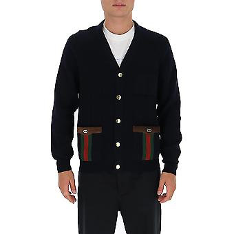 Gucci 626349xkbfj4330 Men's Blue Wool Cardigan