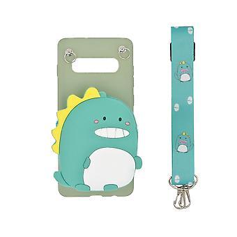 3D mobile Shell Samsung Galaxy S10 Plus, eingebaute Brieftasche - Dinosaurier, grün
