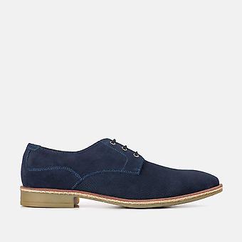 Clarke navy suede derby shoe