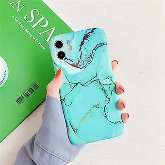 Moskado iPhone 8 حالة الرخام الملمس - صدمة لامعة حالة الجرانيت غطاء غطاء TPU