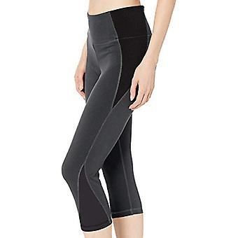 Essentials Women&s Colorblock Performance Mid-Rise Capri Active Legging, Kol/Svart, X-Small