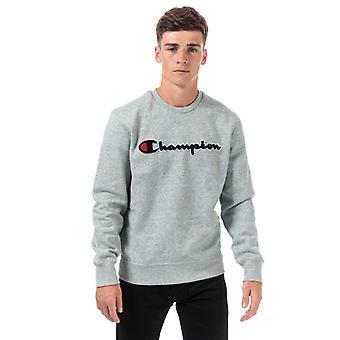 Heren's Kampioen Groot Logo Sweatshirt in Grijs