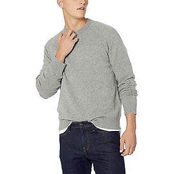 Goodthreads Men's Lambswool Crewneck Sweater, Heather Grey, Small