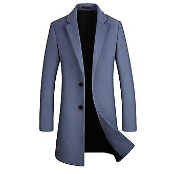 Men's Mid-length Single Breasted Wool Blend   Coat