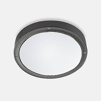 Outdoor LED Runde Flush Deckenleuchte Basic Aluminium Grau 26cm 1488lm 4000K IP65