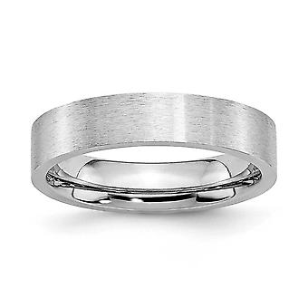 Cobalt Chromium Flat Band Engravable Satin 5mm Band Ring Jewelry Gifts for Women - Ring Size: 7 to 13