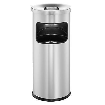 Durável 333223 Sucata com cinzas seguras, cinzeiro de suporte auto-extintor com lixeira de 17l e 2l de cinzas, prata
