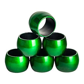 Argon Tableware Napkin Rings Set - Table Decoration for Wedding Dinner Party - Green - Pack of 6