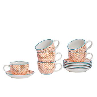 Nicola Spring 12 Piece Hand-Printed Cappuccino Cup and Saucer Set - Japanese Style Porcelain Coffee Teacups - Orange - 250ml