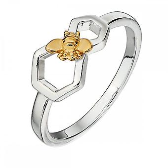 Elements Silver Honeycomb And Bee Silver And Yellow Gold Platting Ring R3673
