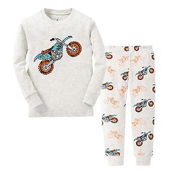 Robot Printed Pajamas Suit - Sleepwear Clothing, Bottom, T-shirts Set-1