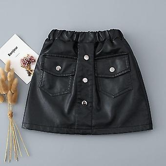 Spring, Autumn, Kids Leather Pu Skirt, Comfortable Clothes Set-2