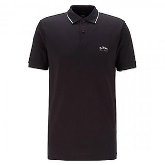Boss Green Hugo Boss Paul Curved Logo Short Sleeve Polo Black 50412675