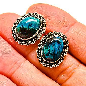 """Shattuckite Earrings 3/4"""" (925 Sterling Silver)  - Handmade Boho Vintage Jewelry EARR407989"""