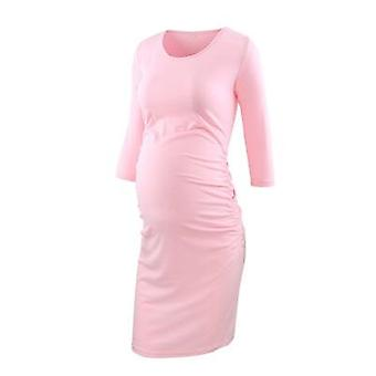 Side Ruched, Wrap Maternity/3 Quarter Sleeve Bodycon Pregnancy Dresses