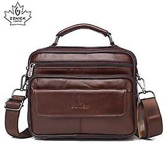 Originálne kožené rameno z hovädzej kože malé messenger tašky Travel Bag (8209 Káva)