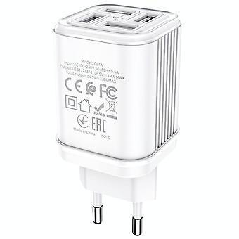 Hoco C84A SuRui încărcător USB cu 4 porturi, mufă UE (alb)