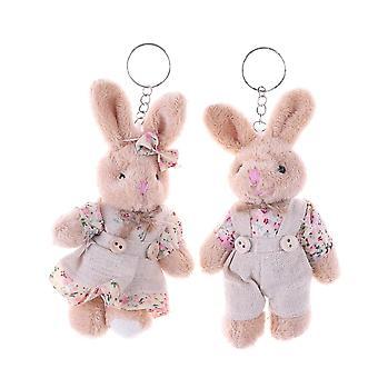 Floral Cloth Dolls Key Bag Pandantive Cuplu Bear Rabbit Plush Breloc