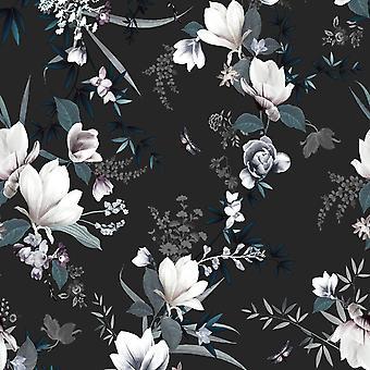 Lipsy Lotus Wallpaper Black Muriva 144053