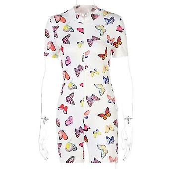 Korte mouw Butterfly Print Zipper Patchwork Sexy Playsuit
