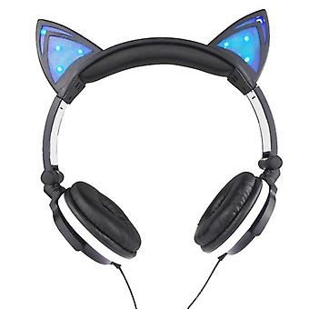 Cat Ears Head-mounted Luminous Foldable Mobile Phone Music Headset For Children