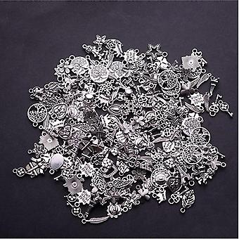 30pcs/bag Mixed Tibetan Silver Tone Crown Key - Animal Charm Pendants